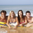 Two young couples on beach holiday — Foto Stock