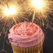 A cupcake with sparklers - Foto de Stock