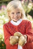 Mladá dívka pózuje s bramborami v zahradě — Stock fotografie