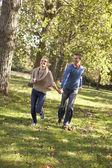 Młoda para zabawy w parku — Zdjęcie stockowe