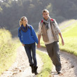 Young couple walking in park — Stock Photo #5190378