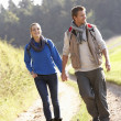 Young couple walking in park — Stock Photo #5190380