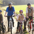 Stock Photo: Young family pose with bikes in park