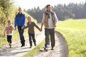 Família jovem caminhando no parque — Foto Stock
