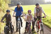 Giovane famiglia posa con bici nel parco — Foto Stock