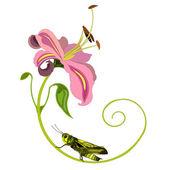 Flower And Grasshopper — Stock Vector