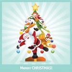 colagem de desenhos animados engraçado cartão de Natal — Vetorial Stock