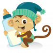 Baby Monkey With Milk Bottle — Stock Vector