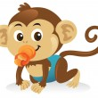 Baby Monkey With Pacifier - Stock Vector