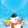 Snowman Couple With Kids — 图库矢量图片