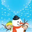 Snowman Couple With Kids — Stock vektor