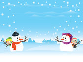 Snowman Couple — Stock Vector