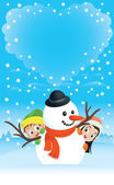 Snowman Couple With Kids — Stock Vector