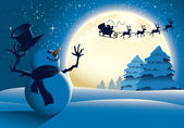 Lonely Snowman Waving to Santa Sleigh — Stock Vector