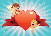 Valentine Cupids — Stock Vector