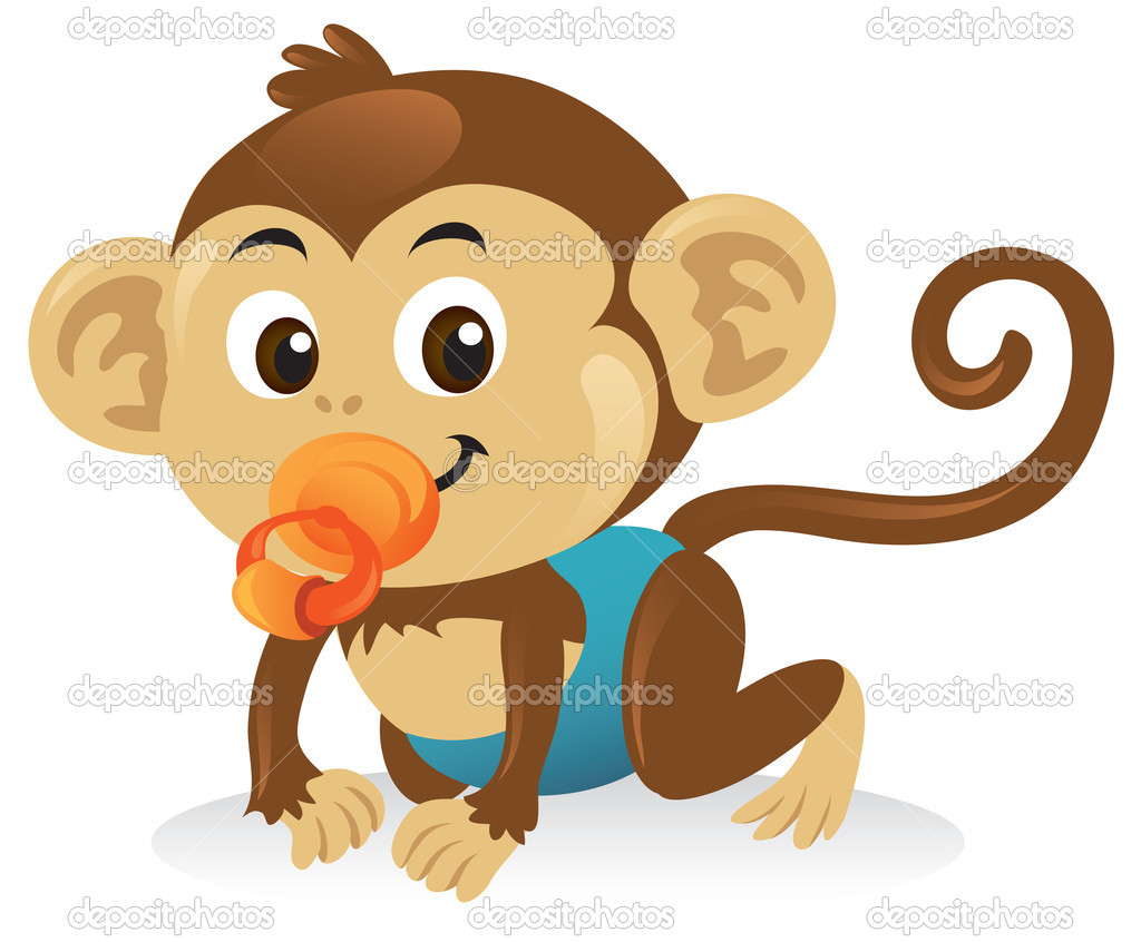Cute baby monkey with a pacifier in a crawling pose. — Stock Vector #4492498