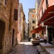 Street of Rovinj city in Croatia - Stok fotoğraf