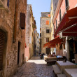 Street of Rovinj city in Croatia - Stock Photo