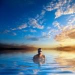 Swiming young man — Stock Photo