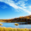 Foto Stock: Autumn lake in north mountain