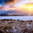 Stock Photo: Winter north lake and sunset