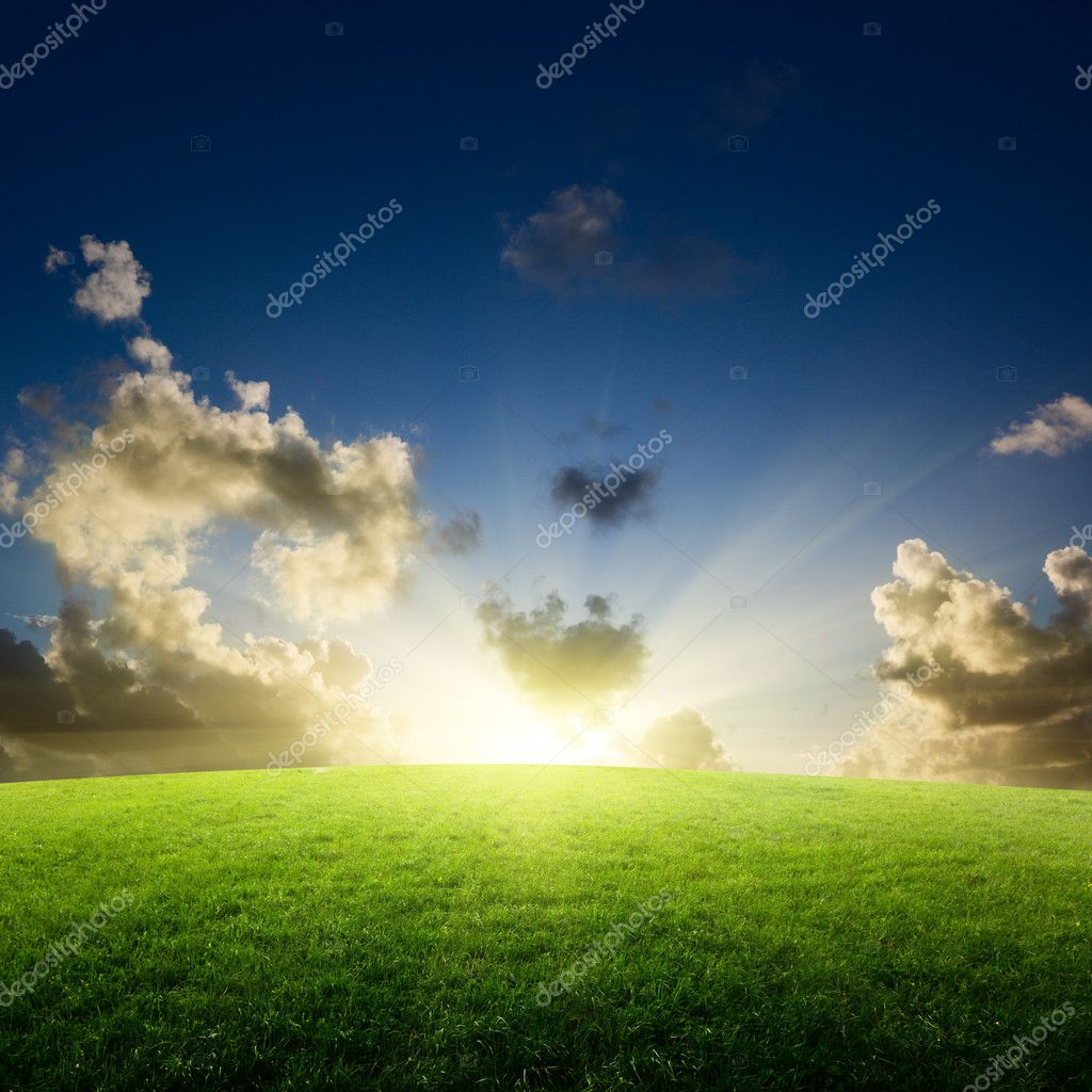 Field of grass and sunset — Stock Photo #4492738