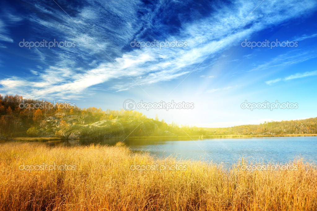Autumn lake in north mountain — Stock Photo #4494148