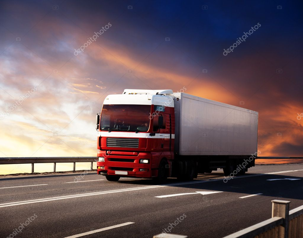 Truck on highway and sunset  Stock Photo #4494762