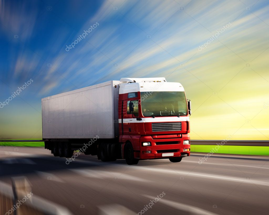 Truck on highway and sunset — Stock Photo #4494763