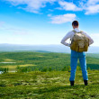 one traveler walking in north mountin tundra — Stock Photo