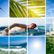 Collage of active fun by sea — Stock Photo