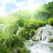 Waterfall in deep forest - 图库照片