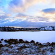 Stockfoto: Winter north lake and sunset