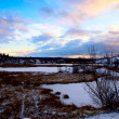 Winter north lake and sunset — Stockfoto