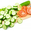 Slices of cucumber and tomato — Stock Photo