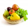 Fruits and vegetables in basket isolated on the white — Stock Photo #4608503