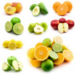 Page of fruits isolated on the white - Stock Photo