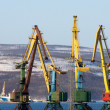 Cranes in port - Stock Photo