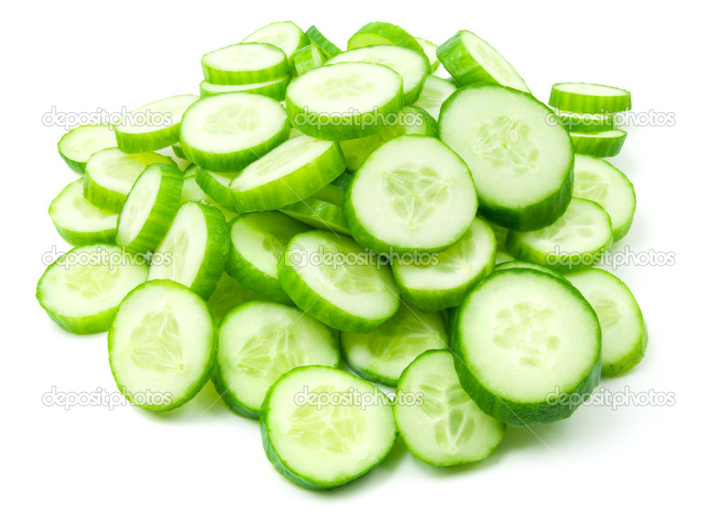 Slices of fresh green cucumber isolated on white background — Stock Photo #4608457