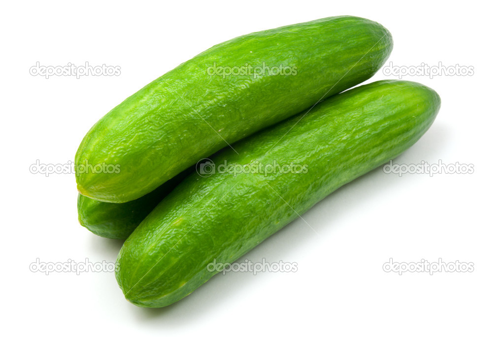 Green cucumbers isolated on white background  Stock Photo #4608473