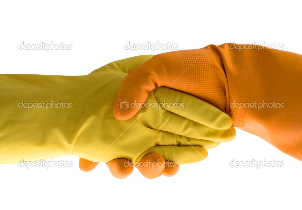 Handshake, gloves and protect, isolated white  Stock Photo #4608530