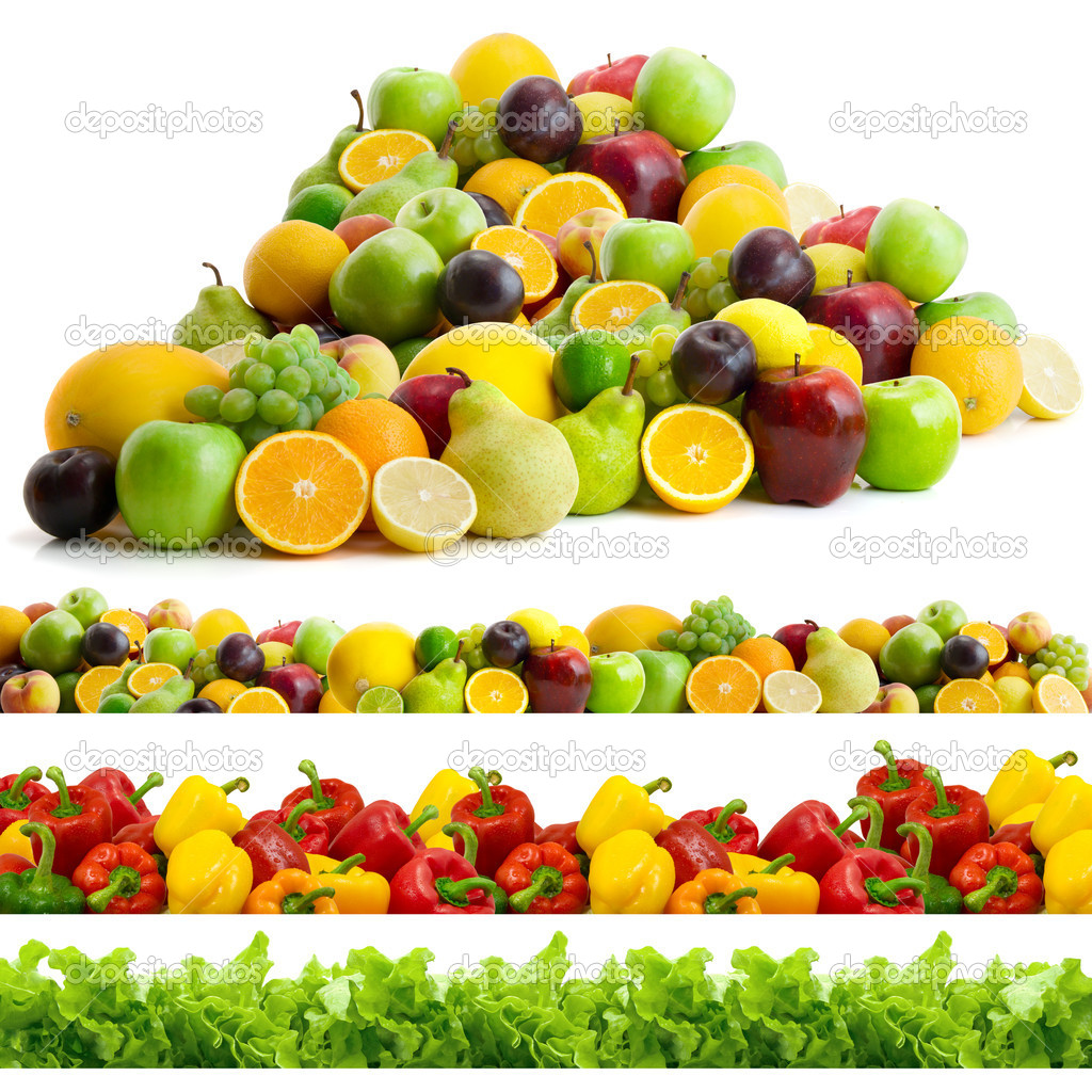 Collection of vegetables and fruits isolated on the white background — Stock Photo #4608621