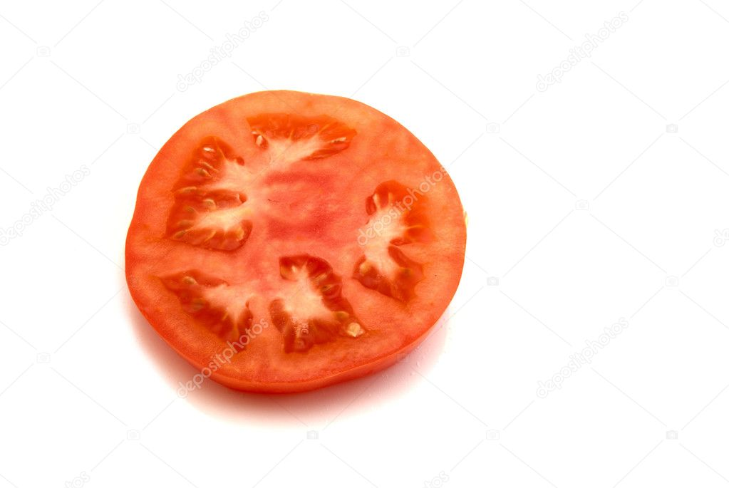 Slice of tomato isolated on the white background — Stock Photo #4608732