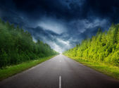 Stormy sky and road in forest — Stock Photo