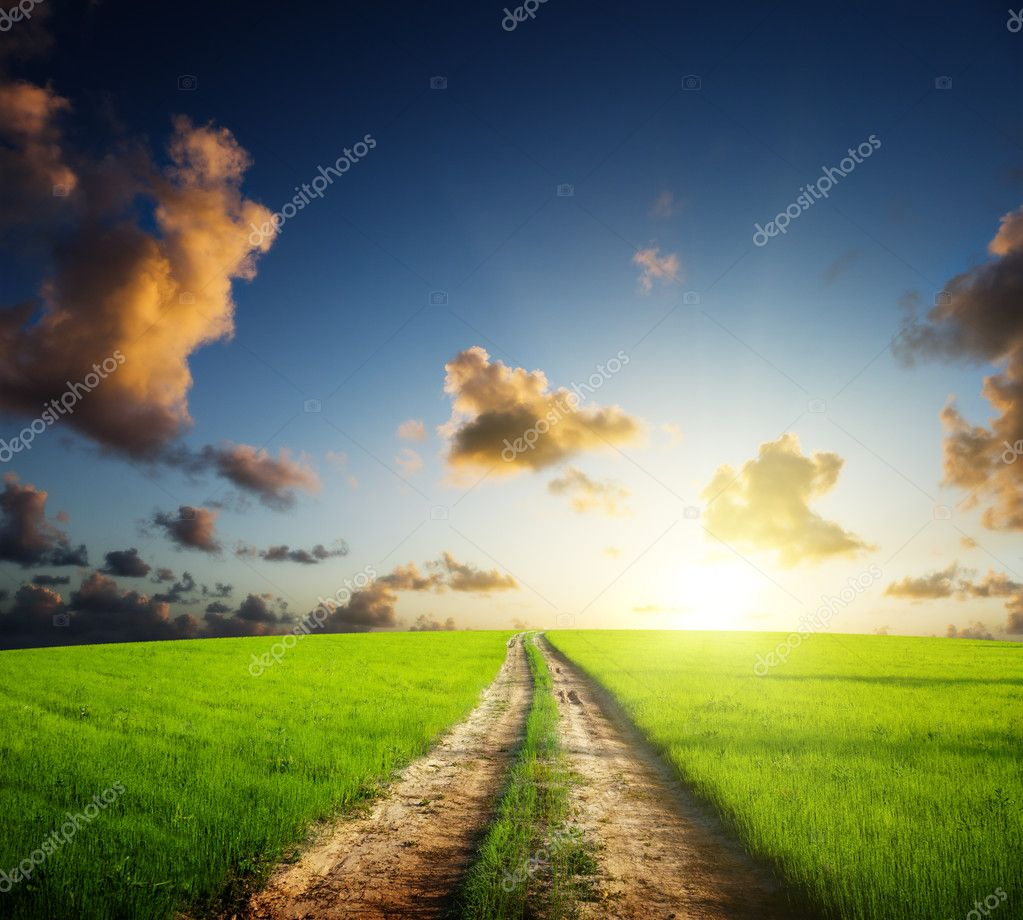Ground road and sunset  Stock Photo #4621561