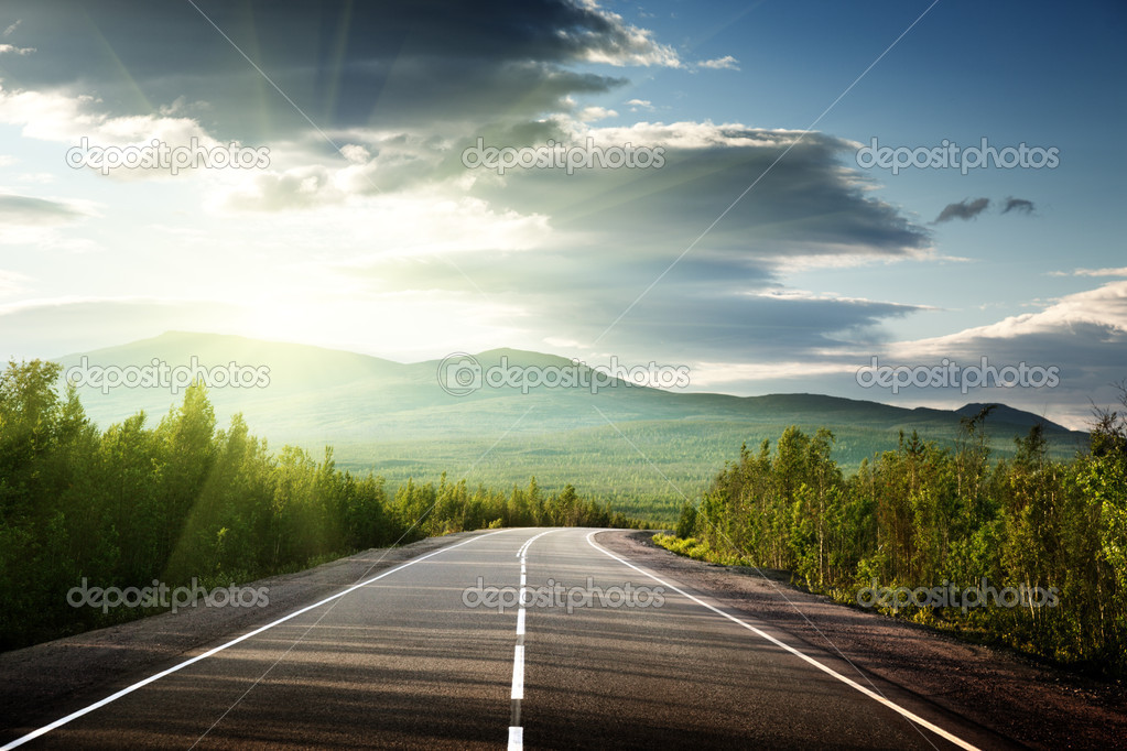 Road in Russian mountains  Stock Photo #4621937