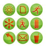 Interfaz de iconos verdes — Vector de stock