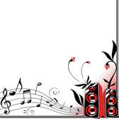 Decorative frame with loudspeakers, flowers and music staff — Stock Vector
