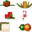 Vettoriale Stock : New Year and Christmas icon set