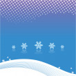 Royalty-Free Stock Vector Image: Snowflakes on blue background, white curves